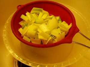Cleaned leeks ready for cooking