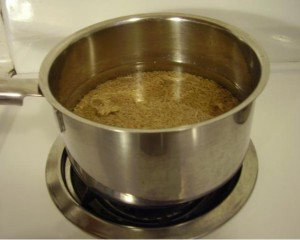 Brown Rice in Pan covered in water