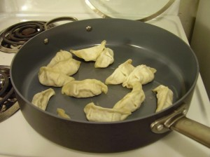 Trader Joe's Potstickers browning in the Pan